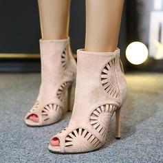 Kvinder Ruskind Stiletto Hæl Støvler Kigge Tå Ankelstøvler med Udhul sko
