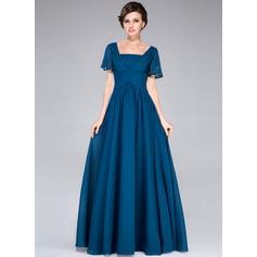 Vestidos princesa/ Formato A Decote quadrado Longos Tecido de seda Vestido para a mãe da noiva com Beading lantejoulas Babados em cascata