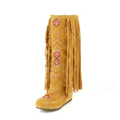 Women's Suede Flat Heel Flats Closed Toe Mid-Calf Boots Snow Boots With Tassel Others shoes