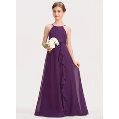Corte A Decote redondo Longos Tecido de seda Vestido de daminha júnior com Curvado Babados em cascata (009191727)