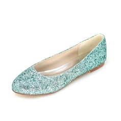 Women's Sparkling Glitter Flat Heel Closed Toe With Sparkling Glitter