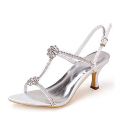 Women's Silk Like Satin Stiletto Heel Pumps Sandals With Rhinestone (047095070)