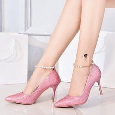Frauen Microfaser-Leder Stöckel Absatz Absatzschuhe Geschlossene Zehe mit Pailletten Funkelnde Glitzer Schuhe