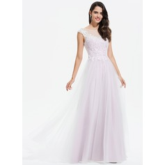 A-Line Scoop Neck Floor-Length Tulle Evening Dress With Lace Sequins