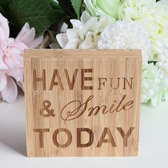 """HAVE FUN & SMILE TODAY"" Simple Square Design/Letter Bamboo Wedding Sign"