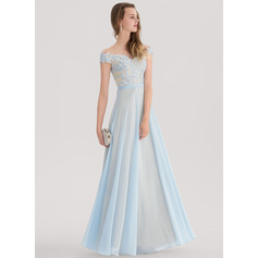 A-Line/Princess Off-the-Shoulder Floor-Length Chiffon Prom Dress With Beading (018138343)