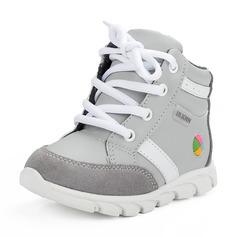 Misto Pelle vera Heel piatto Punta rotonda Sneakers Scarpe da Ginnastica & Atletica con Allacciato