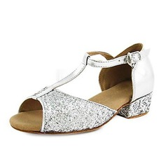 Frauen Kinder Kunstleder Funkelnde Glitzer Heels Sandalen Flache Schuhe Latin mit T-Riemen Tanzschuhe