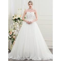 Balklänning Älskling Court släp Tyll Bröllopsklänning med Beading Paljetter
