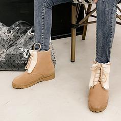 Kvinder Ruskind Lav Hæl Snestøvler med Fjer Blondér sko