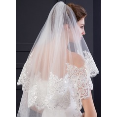 Two-tier Lace Applique Edge Chapel Bridal Veils With Lace (006150911)