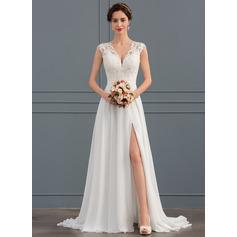A-Line V-neck Sweep Train Chiffon Wedding Dress With Split Front (002134403)