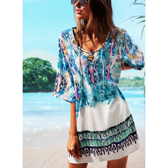 Cover-ups Polyester Floral Print Women's No Swimwear
