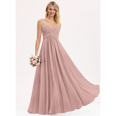 A-Line V-neck Floor-Length Chiffon Evening Dress With Ruffle (017221857)