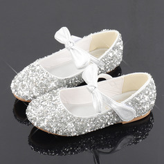 Jentas Round Toe Sparkling Glitter Flower Girl Shoes med Profilering Bowknot Crystal