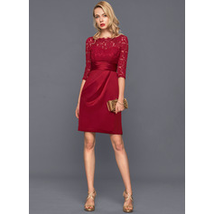 Sheath/Column Scoop Neck Knee-Length Satin Cocktail Dress With Ruffle (016140387)