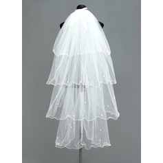 Four-tier Fingertip Bridal Veils With Scalloped Edge