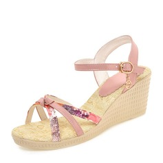 Vrouwen PVC Wedge Heel Sandalen Pumps Wedges Peep Toe Slingbacks met Anderen schoenen