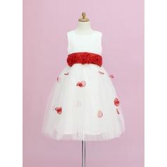Forme Princesse Longueur cheville Robes à Fleurs pour Filles - Organza/Satiné/Tulle Sans manches Col rond avec Ceintures/Fleur(s)/À ruban(s)