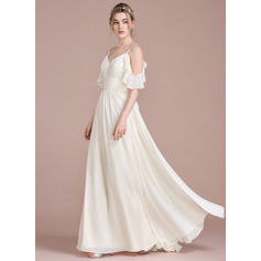 A-Line/Princess Floor-Length Chiffon Bridesmaid Dress With Cascading Ruffles (007104724)