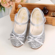 Girl's Round Toe Sparkling Glitter Flat Heel Flats With Bowknot Velcro