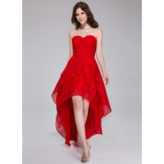 A-Line/Princess Sweetheart Asymmetrical Chiffon Holiday Dress With Cascading Ruffles (020037394)