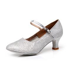 Mulheres Espumante Glitter Saltos Bombas Salão de Baile com Fivela Sapatos de dança