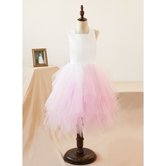 Forme Princesse Robes à Fleurs pour Filles - Organza Sans manches Dos nu/Encolure carrée