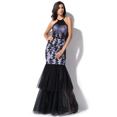 Trumpet/Mermaid Scoop Neck Floor-Length Charmeuse Evening Dress With Ruffle Beading Appliques Lace Sequins
