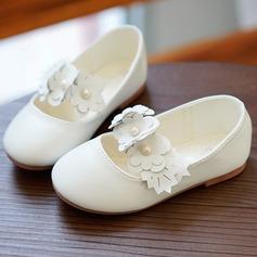 Muchacha Punta Cerrada Cuero de Microfibra Talón plano Planos Zapatos de niña de las flores con Flor
