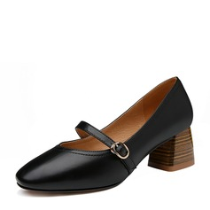 Frauen PU Stämmiger Absatz Absatzschuhe Geschlossene Zehe mit Schnalle Schuhe