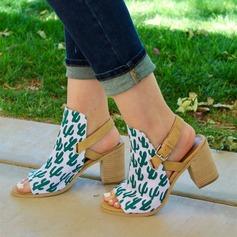 Kvinnor Duk Tjockt Häl Sandaler Pumps med Andra skor