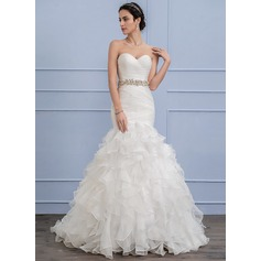 Trumpet/Mermaid Sweetheart Sweep Train Organza Wedding Dress With Beading Cascading Ruffles (002106062)