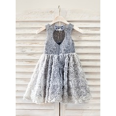 A-Line/Princess Knee-length Flower Girl Dress - Lace Sleeveless Scoop Neck With Bow(s)/Back Hole