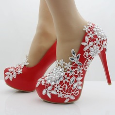 Women's Leatherette Stiletto Heel Closed Toe Pumps With Applique Crystal Pearl