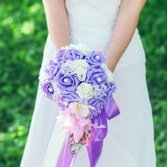 Elegante Cascata Cetim/Seda artificiais Buquês de noiva