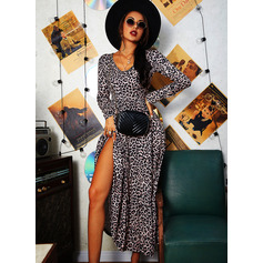 Leopard A-line Long Sleeves Maxi Casual Skater Dresses (294254276)