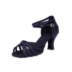 Femmes Satiné Sandales Latin avec Lanière de cheville Ouvertes Chaussures de danse