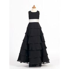 A-Line/Princess Scoop Neck Ankle-Length Chiffon Junior Bridesmaid Dress With Sash Flower(s) Cascading Ruffles