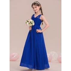 A-Line/Princess V-neck Floor-Length Chiffon Junior Bridesmaid Dress (009119607)