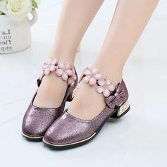 Flicka Stängt Toe sparkling blänker platt Heel Platta Skor / Fritidsskor Flower Girl Shoes med Bowknot Kardborre Blomma