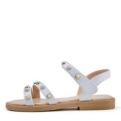 Girl's Peep Toe Leatherette Flat Heel Flats Flower Girl Shoes