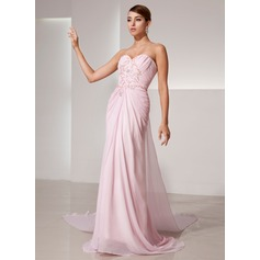 A-Line/Princess Sweetheart Watteau Train Chiffon Prom Dress With Ruffle Beading Sequins