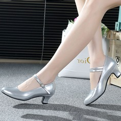 Leatherette Heels Pumps Ballroom With Buckle Dance Shoes