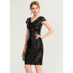 Sheath/Column Cowl Neck Knee-Length Sequined Cocktail Dress