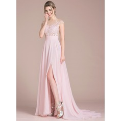 A-Line Illusion Sweep Train Chiffon Wedding Dress With Split Front