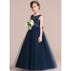 A-Line/Princess Scoop Neck Floor-Length Tulle Junior Bridesmaid Dress With Sash (009126265)