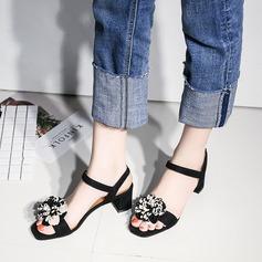 Mulheres Couro Salto robusto Sandálias Sapatos abertos com Flor Faixa Elástica sapatos