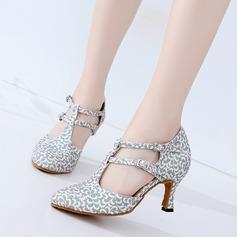 De mujer Cuero Brillo Chispeante Tacones Sala de Baile Zapatos de danza