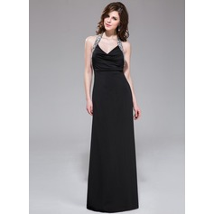 Sheath/Column Halter Floor-Length Jersey Evening Dress With Beading Sequins